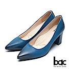 【bac】經典回歸-溫潤感擦色復古粗跟尖頭高跟鞋