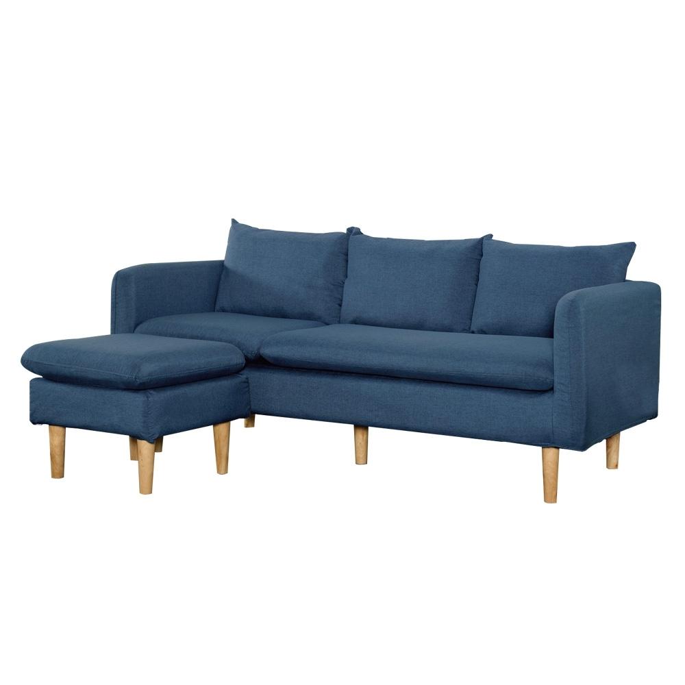 文創集 戴梅勒棉麻布L型沙發(二色+左右二向可選)-176x131x87.5cm免組