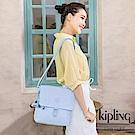Kipling 棉花糖藍掀蓋方型側背包-COLBY