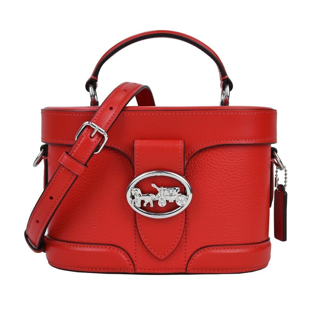 COACH 馬車logo皮革手提/斜背兩用圓桶包(紅)