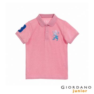 GIORDANO   童裝勝利獅王漸層刺繡彈力萊卡POLO衫 - 62 雪花薔薇粉紅