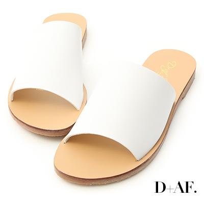 D+AF 簡約穿搭.寬版一字平底涼拖鞋*白