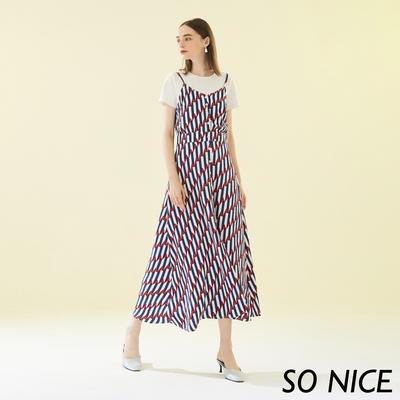 SO NICE俏麗假兩件幾何印花吊帶洋裝