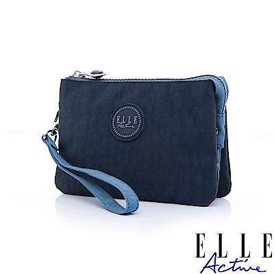ELLE Active 城市微旅行-三層零錢包/萬用包/手拿包-藍色