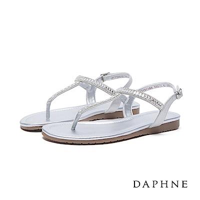 達芙妮DAPHNE涼鞋-菱形水鑽拼貼T字平底涼鞋-銀