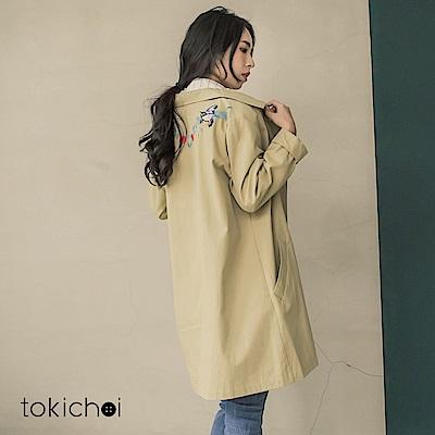 東京著衣 多色背後繡花長版帆布外套(共一色)