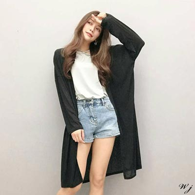 WHALE JEANS Korea舒服寬鬆輕薄長版長袖外套-5色
