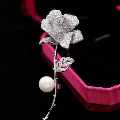 梨花HaNA 韓國優雅高級經典帶刺的玫瑰花珍珠胸針