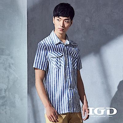 IGD英格麗 都會休閒百搭藍白粗條紋亞麻雙口袋造型襯衫-藍色