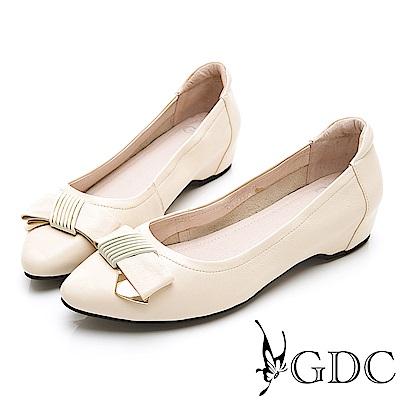 GDC-真皮簡約質感舒適蝴蝶結上班包鞋-米