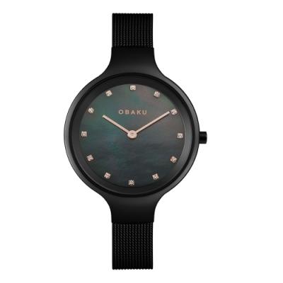 OBAKU 極光時尚晶耀貝殼面腕錶-黑(V173LXBBMB)/32mm