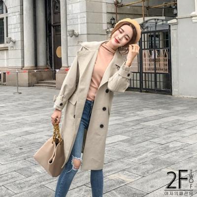 2F韓衣-個性風衣長版外套-杏色(S、L)
