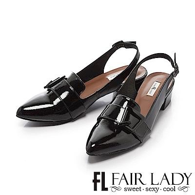 Fair Lady 有一種喜歡是早秋-金屬綴扣漆皮尖頭涼鞋 黑