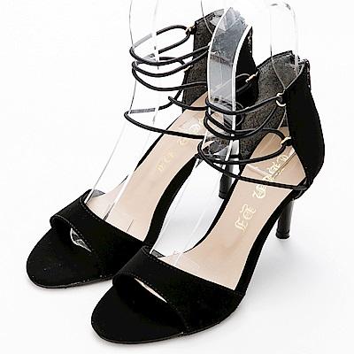 River&Moon涼鞋.一字繞踝帶細絨高跟涼鞋-黑