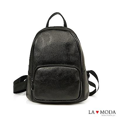La Moda 出遊百搭不敗全真皮頭層牛皮大容量後背包(黑)
