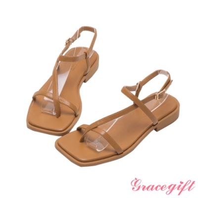 Grace gift-套趾繫踝平底涼鞋 棕