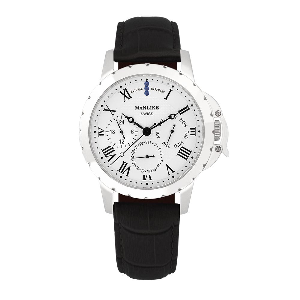 Manlike 曼莉萊克 藍寶石多功能三眼腕錶 銀色 白面 黑色帶