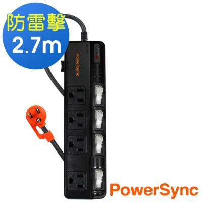 群加 PowerSync 四開四插防雷擊抗搖擺延長線/2.7m(TPS344BN0027)