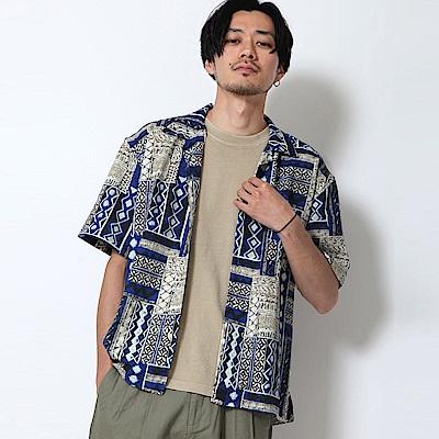 短袖襯衫開領蠟染花紋(2色) ZIP日本男裝