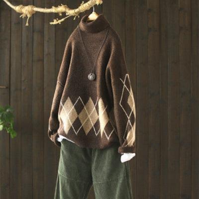 軟糯溫和菱紋提花高領針織衫寬鬆毛衣-設計所在