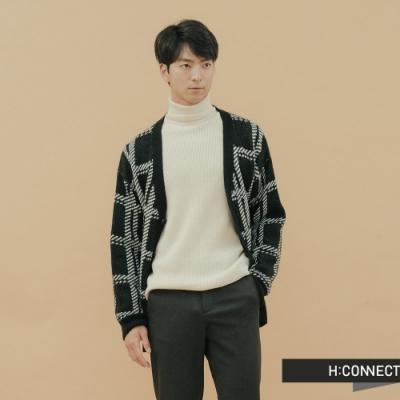 H:CONNECT 韓國品牌 男裝-格紋造型針織外套-黑