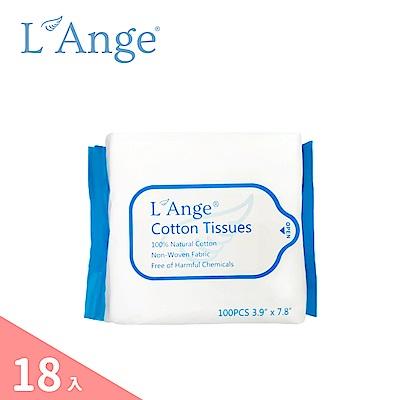 L'Ange 棉之境 抽取式純棉護理巾10x20cm-100抽(18入)
