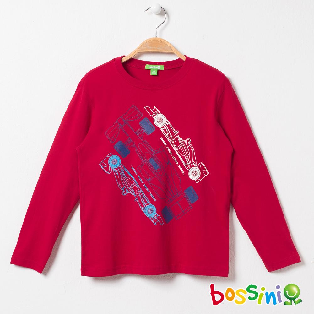bossini男童-印花長袖T恤01暗紅