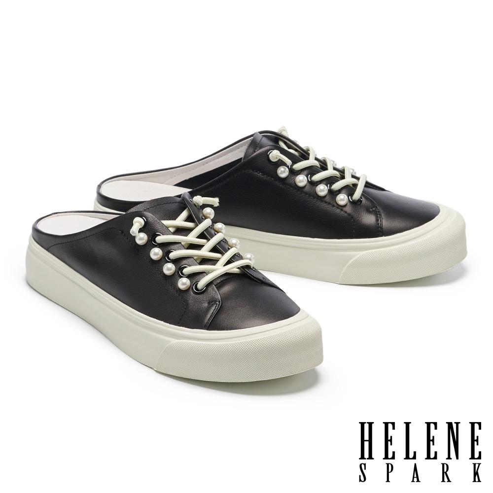 拖鞋 HELENE SPARK 簡約質感珍珠牛皮厚底休閒拖鞋-黑