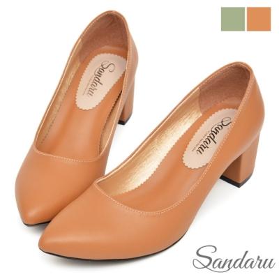 山打努SANDARU-OL中跟鞋 簡約彈性足弓減壓尖頭鞋-栗子
