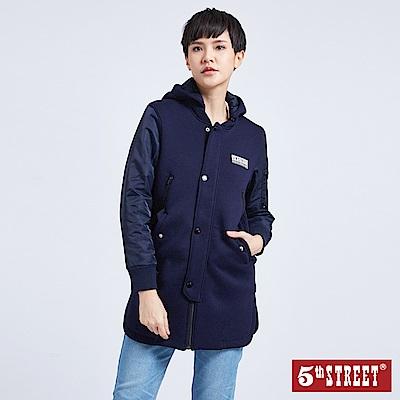5th STREET 異素材拼袖太空棉長版外套-女-黑色