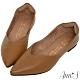 Ann'S無調味-素面純色V口顯瘦尖頭超軟真皮平底鞋-咖(版型偏小) product thumbnail 1