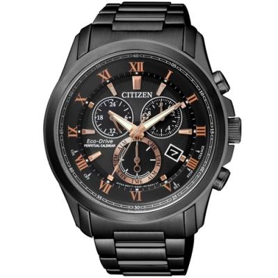 CITIZEN 星辰限量光動能羅馬萬年曆腕錶-黑(BL5545-50E)