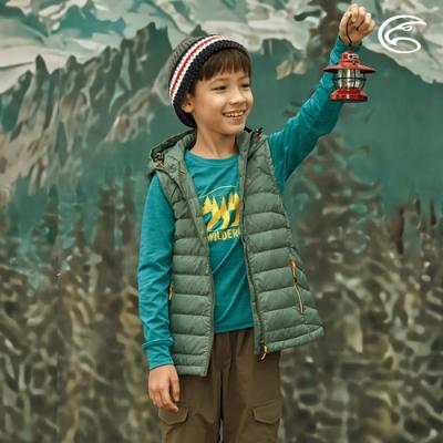 ADISI 童輕量超撥水羽絨連帽背心AV2021039 森林綠