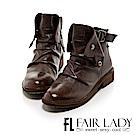 Fair Lady 率性抓皺扣飾後拉鍊短靴 可可