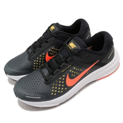 Nike 慢跑鞋 Zoom Structure 23 男鞋 氣墊 避震 路跑 運動 健身 球鞋 黑 橘 CZ6720006