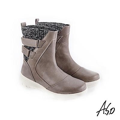 A.S.O 異材質拼接 布料拼接牛皮休閒靴 灰
