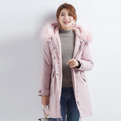 2F韓衣-韓系大毛領金屬環扣造型防風鋪棉大衣-秒