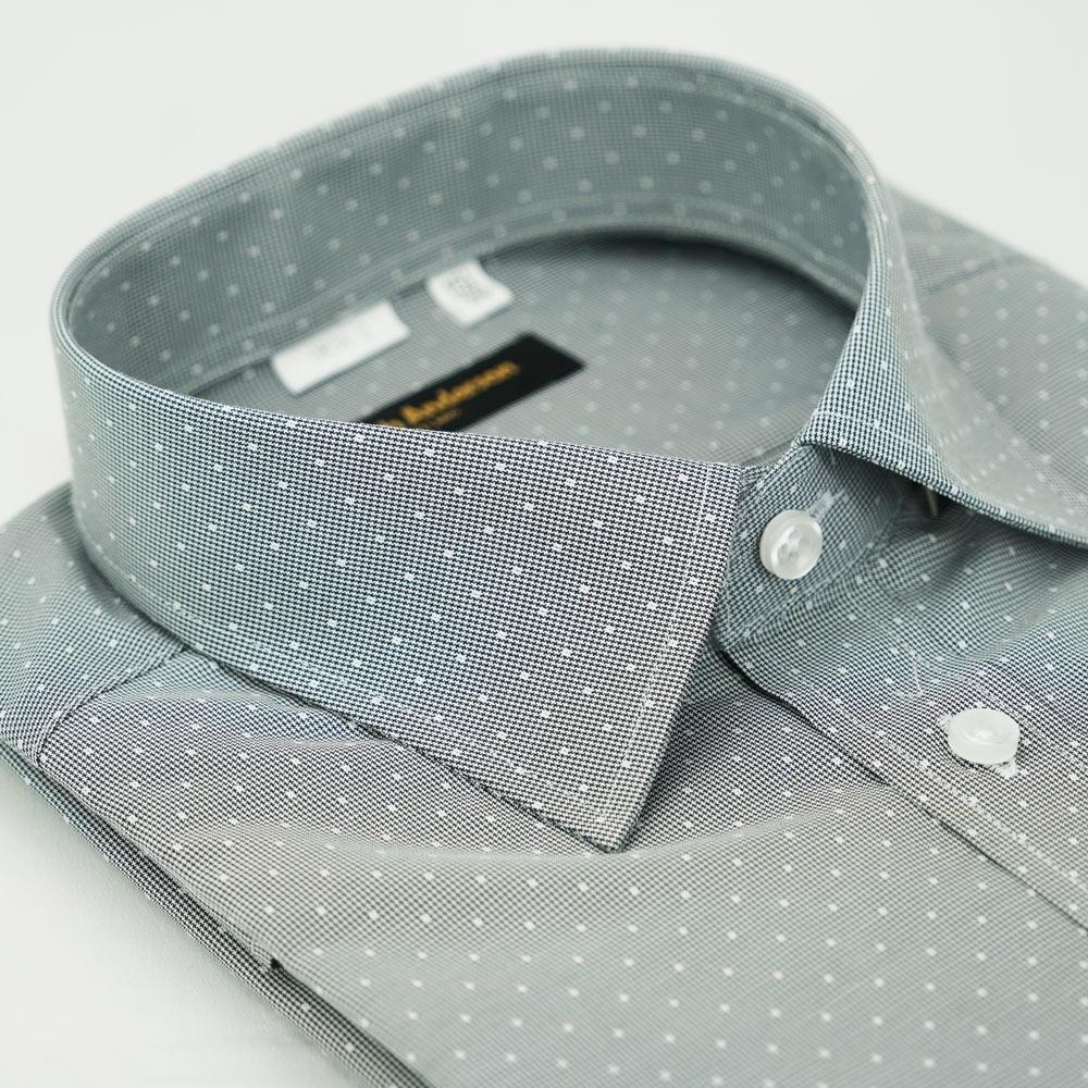 【金‧安德森】灰色白點窄版長袖襯衫fast