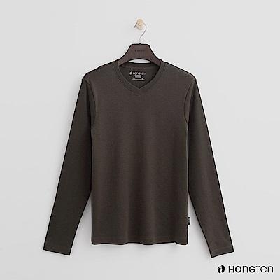 Hang Ten - 男裝 - 柔軟素面小V領上衣 - 綠