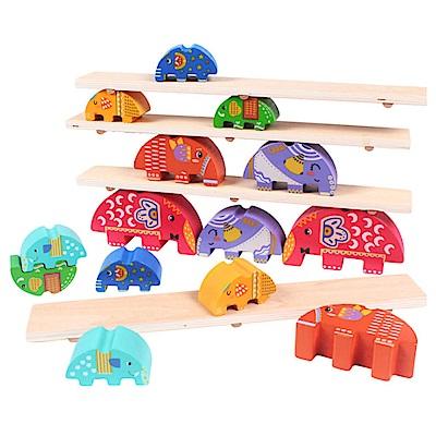 經典木玩 木製大象平衡木拼搭蹺蹺板(兒童教育玩具)(36m+)