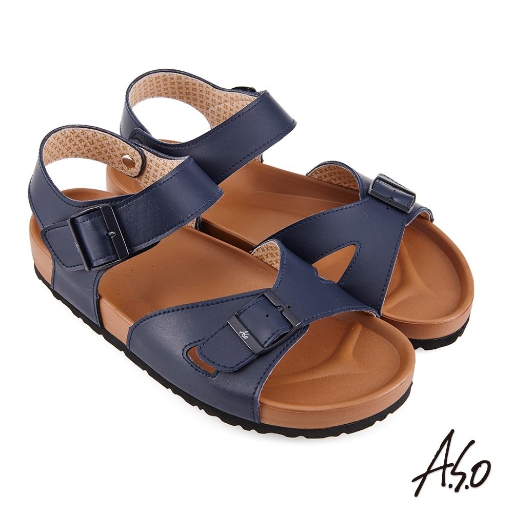 A.S.O 足健康黏帶EVA涼鞋-藍色