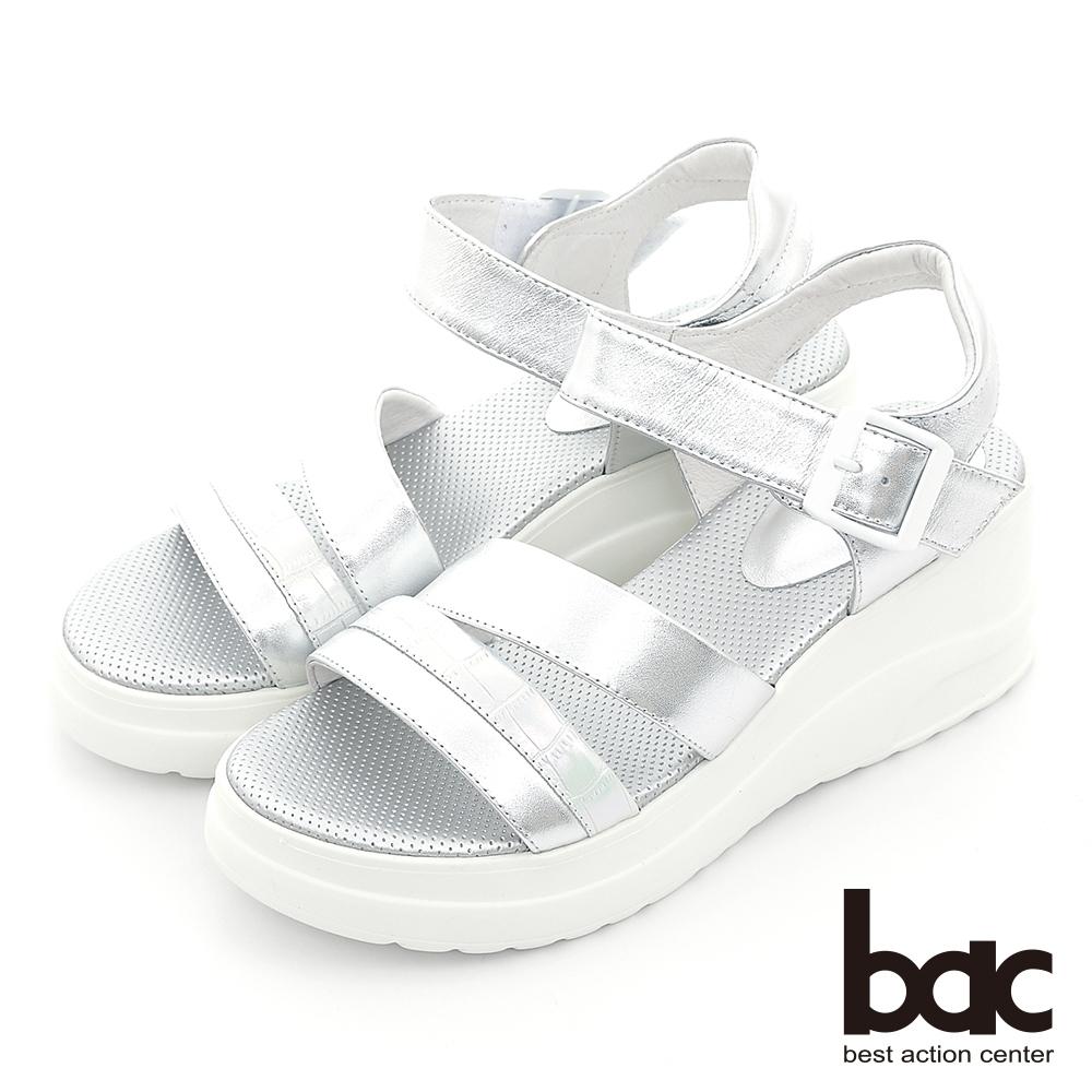 【bac】配色一字帶厚底運動休閒涼鞋-銀