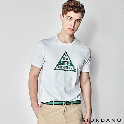 GIORDANO男裝Nature系列印花短袖T恤-81標誌白