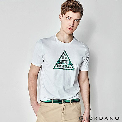 GIORDANO 男裝大自然系列印花短袖T恤-81 標誌白