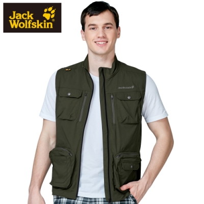 【Jack wolfskin 飛狼】男 Supplex 彈性快乾休閒背心 釣魚背心『橄欖綠』