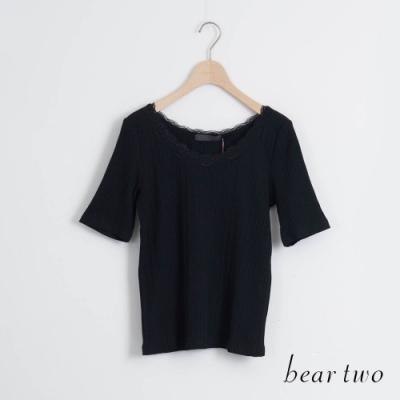 beartwo- 圓領蕾絲純色上衣-黑