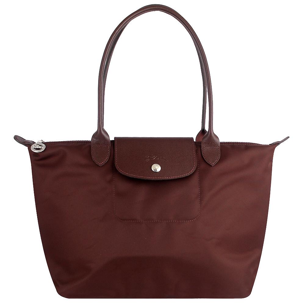 Longchamp 厚質尼龍布長背帶水餃包(咖啡色/小) @ Y!購物