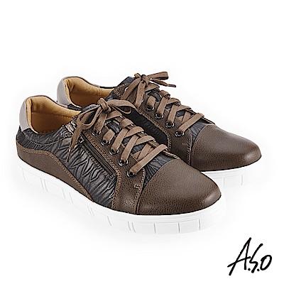 A.S.O 輕量抗震 異材質混搭休閒鞋 墨綠