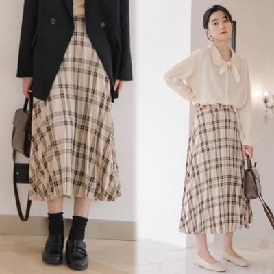 【韓國K.W.】(預購)韓新品造型格紋百搭長裙-1色