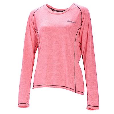 荒野【wildland】女圓領雙色抗UV長袖上衣粉紅